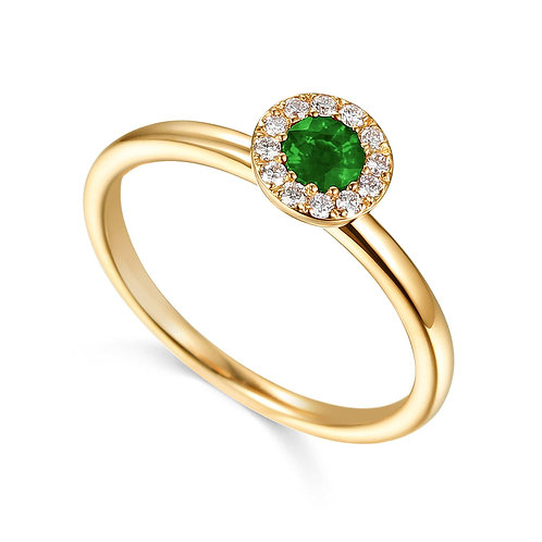 Emerald and Diamond halo yellow gold ring