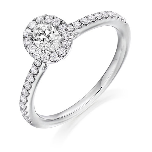 Oval cut diamond halo ring