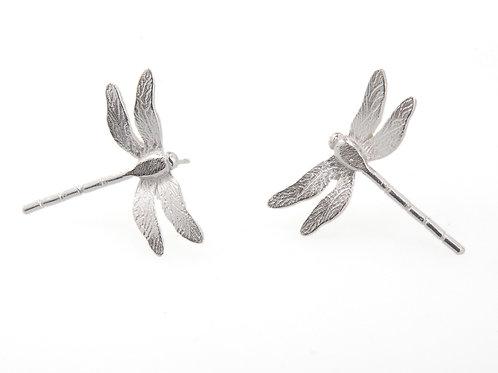 Enchanted silver dragonfly stud earrings