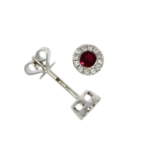 Ruby and Diamond round cluster stud earrings