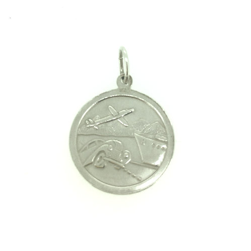 Double sided St Christopher silver pendant