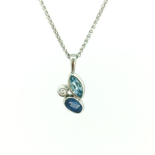 Blue Topaz, Sapphire and Diamond white gold pendant