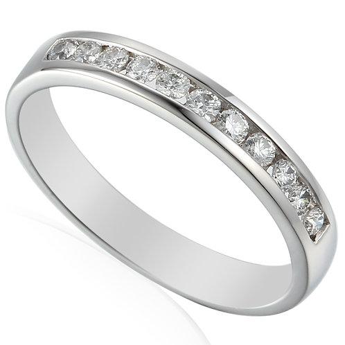 Diamond and Platinum channel set eternity ring