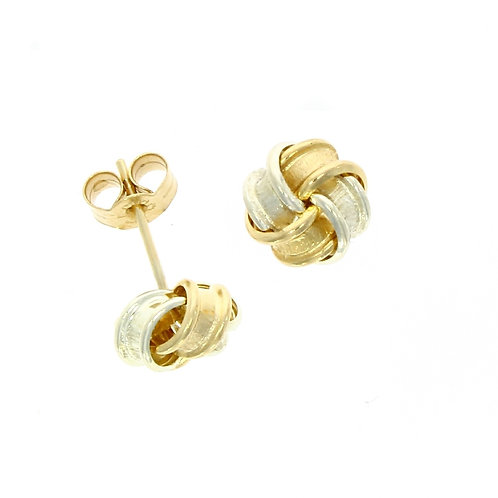 Frosted bicolour knot earrings