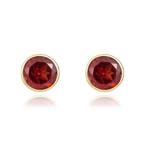 Garnet Round Yellow Gold stud earrings