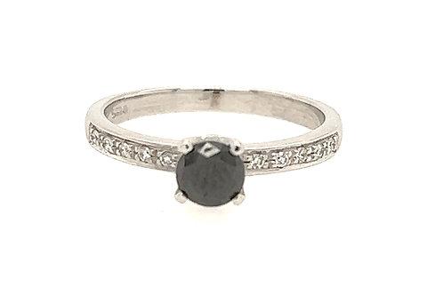 Black Diamond 18ct White Gold Ring