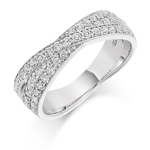 Curved Crossover Diamond half Eternity ring