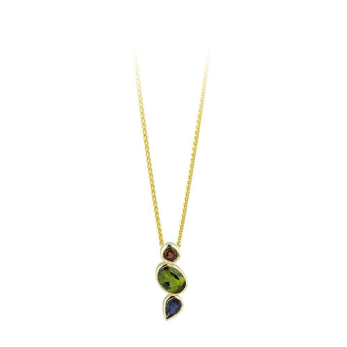 Multistone 9ct yellow gold pendant on chain