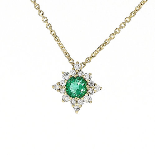 Diamond and Emerald Star pendant 18ct yellow gold