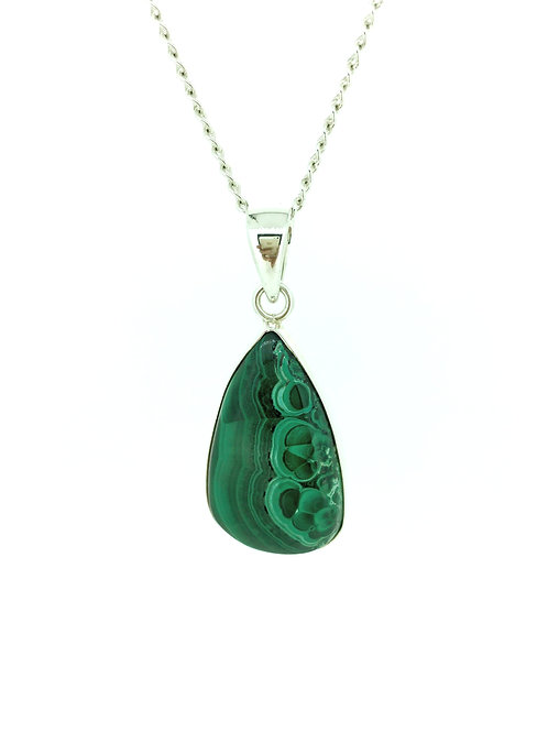 Large Malachite in silver pendant