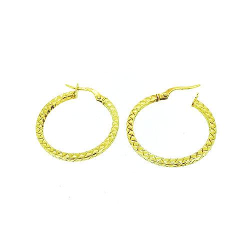 Geometric cut gold hoop earrings