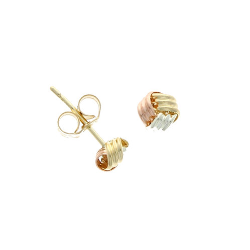 Tricolour small gold ribbon knot earrings