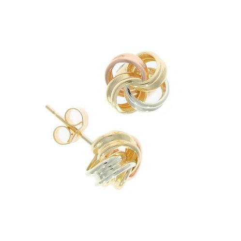 Ribbon loop tricolour knot earrings
