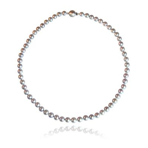 Grey Freshwater Pearl necklace with gold clasp