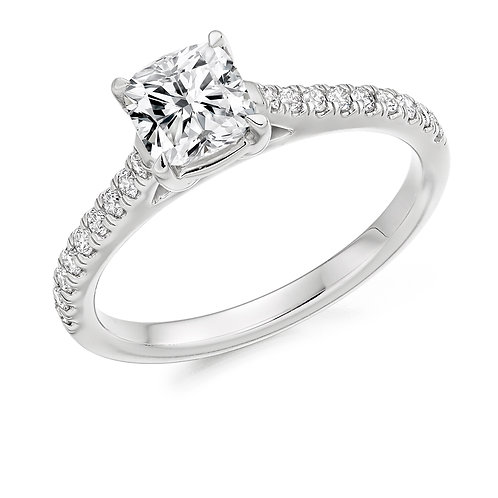 Cushion cut diamond solitaire ring with diamond shoulders