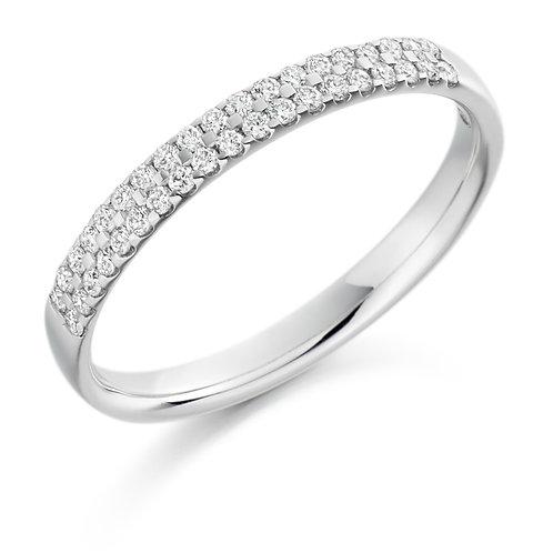 Two row Micro-claw set Diamond half Eternity ring