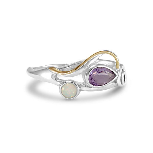 Amethyst and Opalite swirl ring