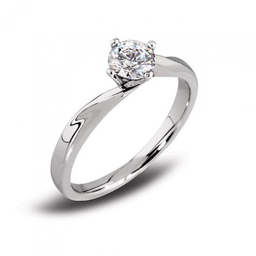 Solitaire twist diamond ring