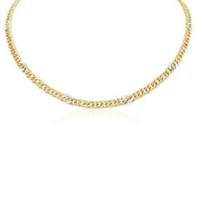 Gold Fancy Curb link necklace with White link motifs
