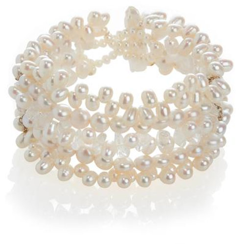 White Freshwater Pearl and Rock Crystal Five Strand bracelet
