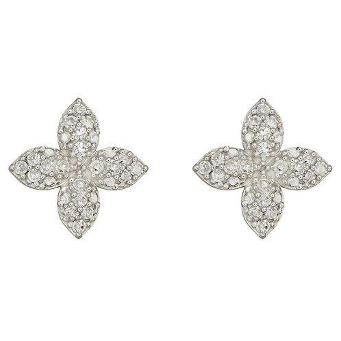 Diamond Flower 9ct Yellow Gold stud earrings