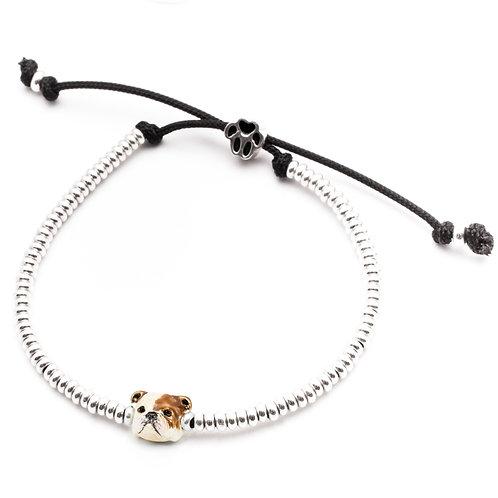 Silver and enamel English Bulldog bracelet