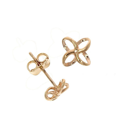 9ct Rose gold Open flower stud earrings