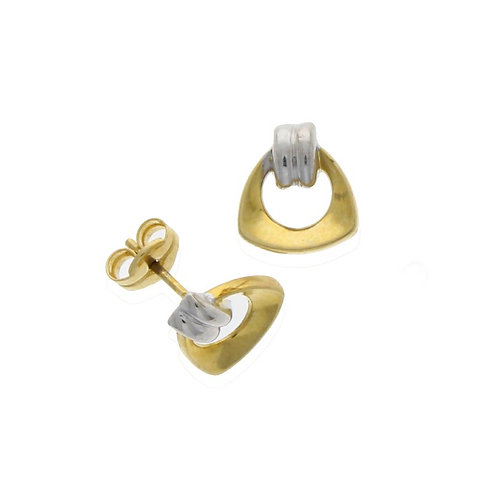 9ct Yellow gold stud triangle earrings with 9ct White gold detail