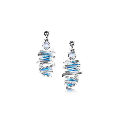 Moonlight drop earrings with moonstone + cubic zirconia