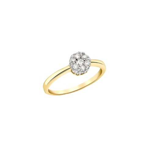 Diamond cluster yellow gold ring