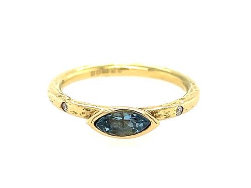 Aquamarine and Diamond 18ct Yellow Gold Ring