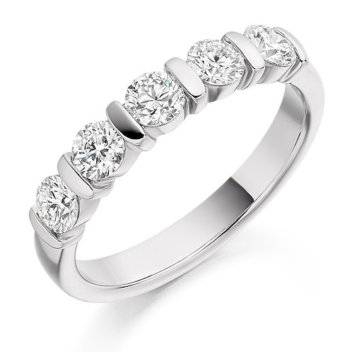 Bar set Diamond 0.75ct half Eternity ring