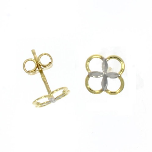 4 leaf clover bicolour stud earrings