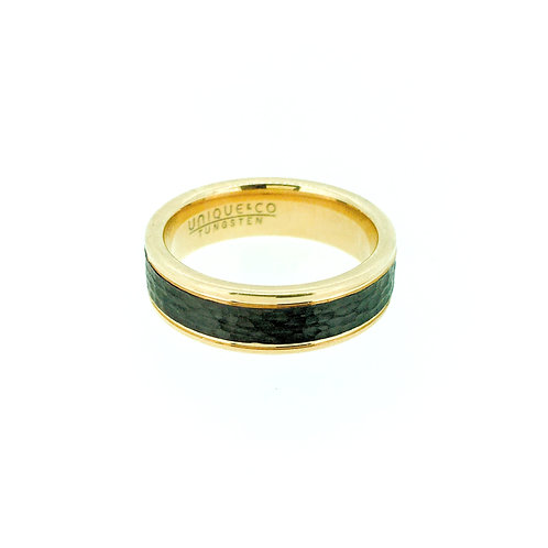 Tungsten carbide ring with rose gold and black IP plate