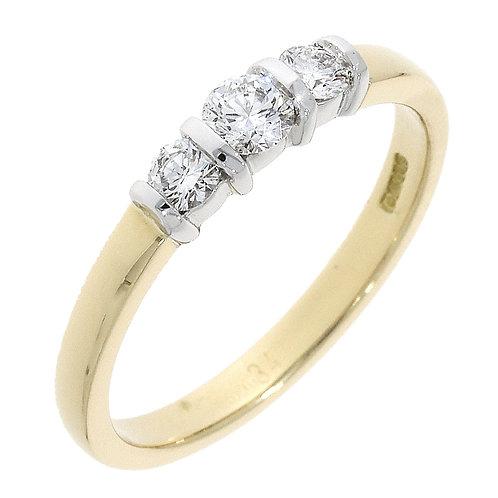 Diamond bar set trinity ring