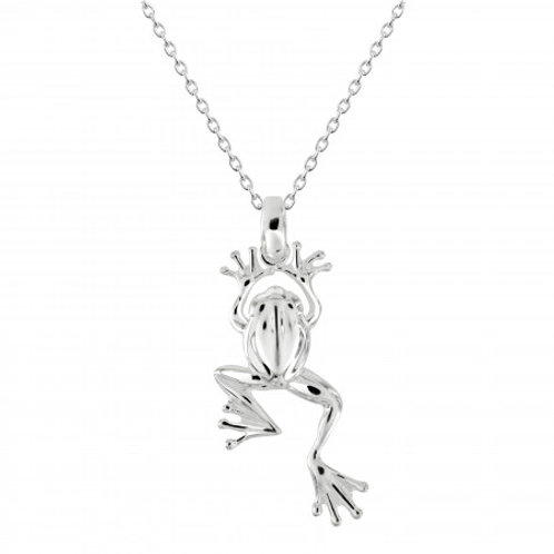 Leaping Frog silver pendant and chain