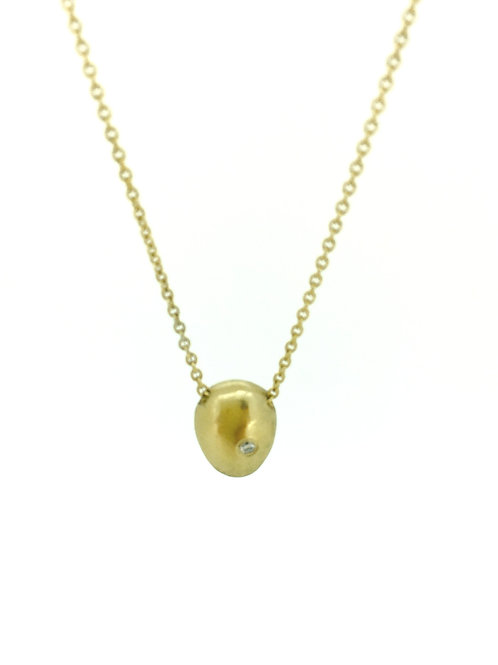 Pebble gold plated silver pendant with Diamond