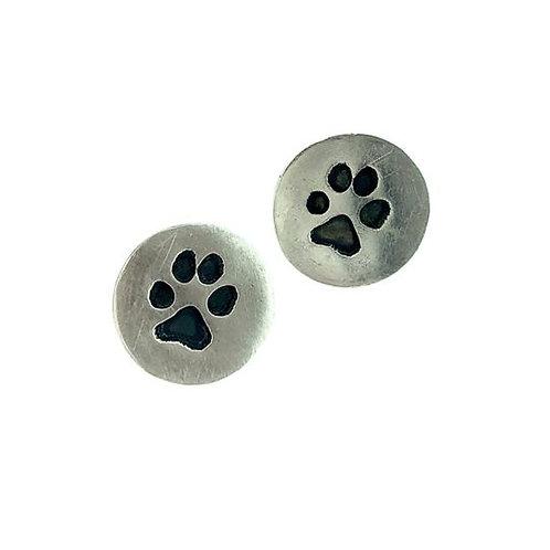 Silver Precious paws round stud earrings