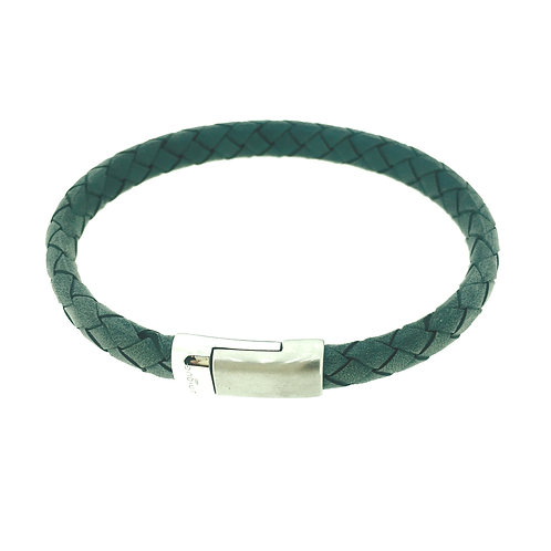 Antique Blue Leather bracelet with steel magnetic clasp