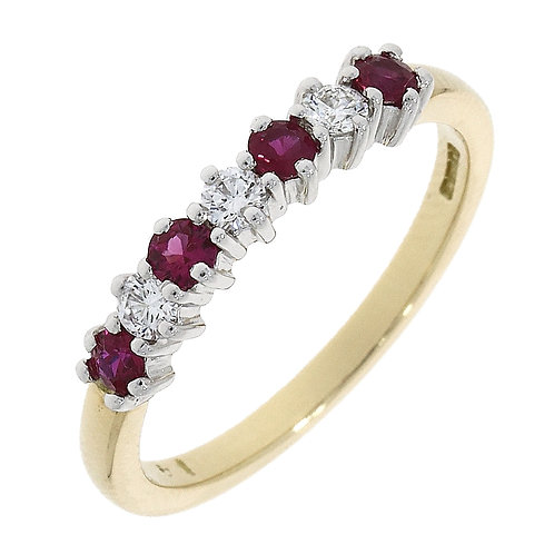 Ruby and Diamond eternity ring 18ct gold
