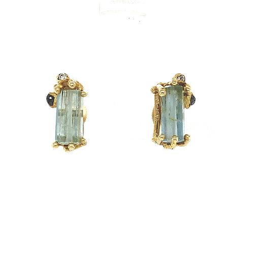 Aquamarine and Grey Diamond Encrusted Gold stud earrings