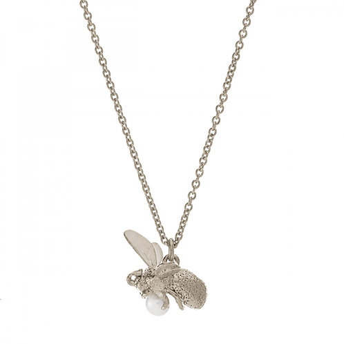 Silver Flying bee with pearl