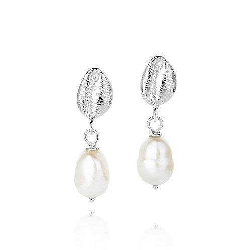Cowrie pearl silver earrings