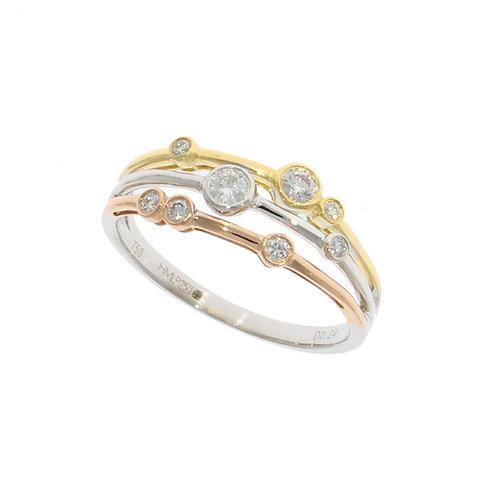Tricolour 18ct Gold Diamond Bubble ring