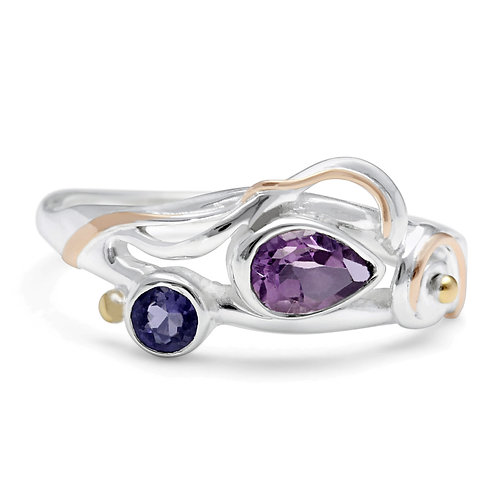 Amethyst and Iolite silver ring