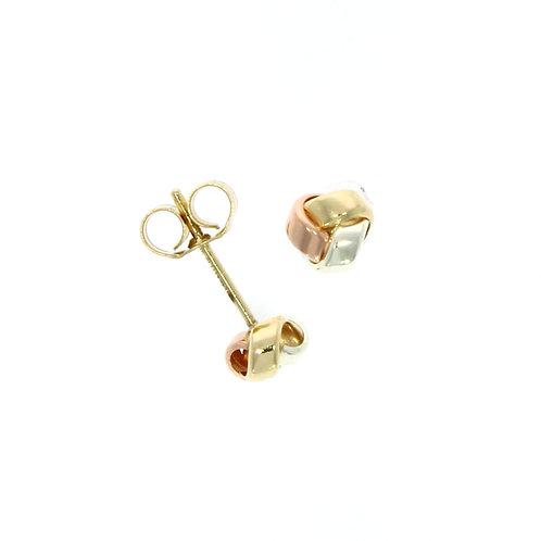 Three colour three row knot stud earrings