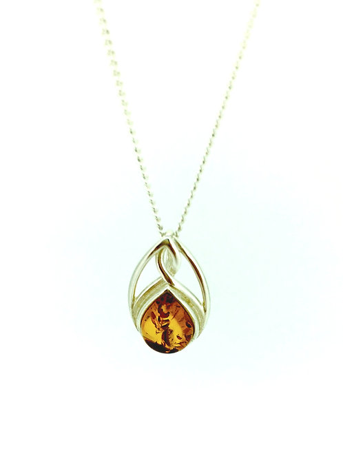 Celtic style Amber and Silver pendant