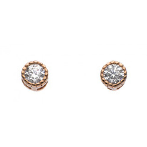 Vintage Style CZ Rose gold plate stud earrings