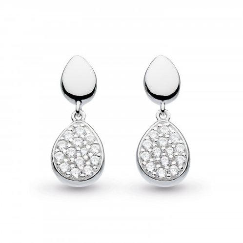 Coast Pebble Glisten CZ silver drop earrings