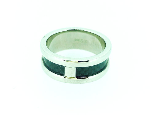 Stainless Steel with carbon fibre inlay ring